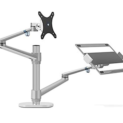 WANZSC Soporte ergonómico de aluminio multifunción de 10 a 17 pulgadas para escritorio y ordenador portátil de 32 pulgadas, soporte de escritorio de movimiento completo con barra de columna (plata)