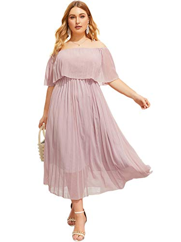 Milumia Women Plus Size Off Shoulder Party Layered Fit Flare A Line Elegant Dress Pink 3X-Large Plus