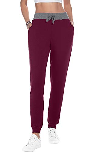 YUNDAI Women Cotton Joggers Cozy Sweatpants Tapered Running Yoga Lounge Travel Pants with Pockets L, Wine Red