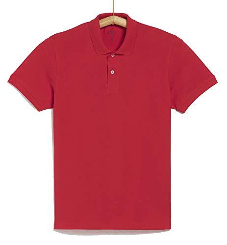 TEX - Polo Piqué para Hombre, Rojo, L