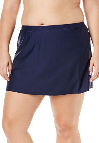 Swimsuits For All Women's Plus Size Side Slit Swim Skirt 32 Navy