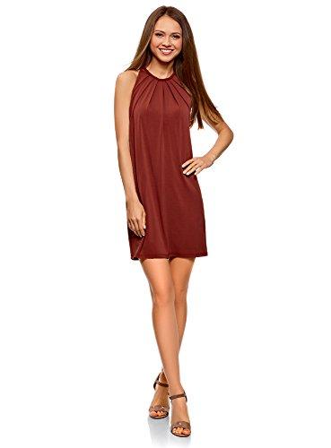 oodji Collection Damen Gerades Kleid mit Schnurband am Rücken, Rot, DE 42 / EU 44 / XL