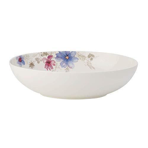Villeroy & Boch Mariefleur Gris Basic Plat creux de service ovale, Porcelaine Premium, Blanc/Multicolore