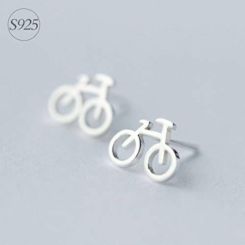 BinLZ-earings S925 Silber Ohrringe Weibliche Mode Niedlichen Mini Fahrrad Ohrringe Einfache Fahrrad Ohrringe Weiblich, 925er Silber