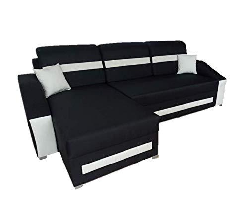 Ecksofa Schlaffunktion Bettfunktion Couch L-Form Polstergarnitur Wohnlandschaft Polstersofa mit Ottomane Couchgranitur - Milo II, L SCHWARZ + WEIß, Links