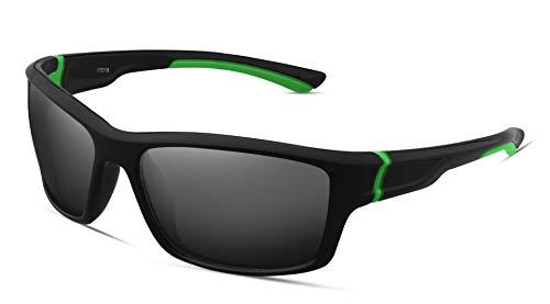 FHNLKFS Gafas de sol deportivas para hombre, gafas de montar al aire libre, gafas de sol para parabrisas marco verde gris