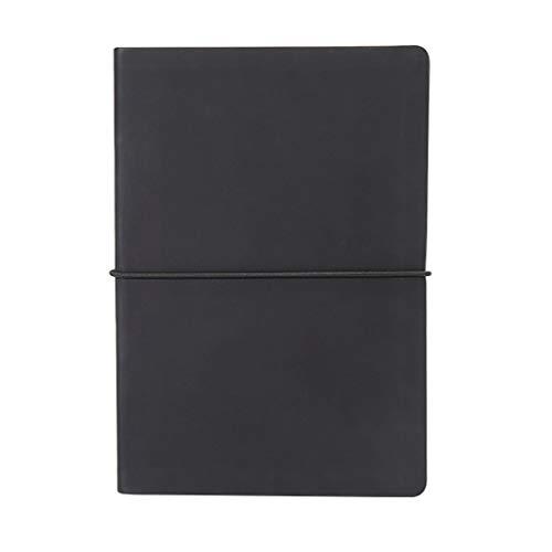 Cuadernos de piel sintética negra con rayas A5, diarios, tapa dura, cuaderno de cara dura, agenda con correas, para mujeres y niñas, trabajo, escuela, reuniones para el trabajo