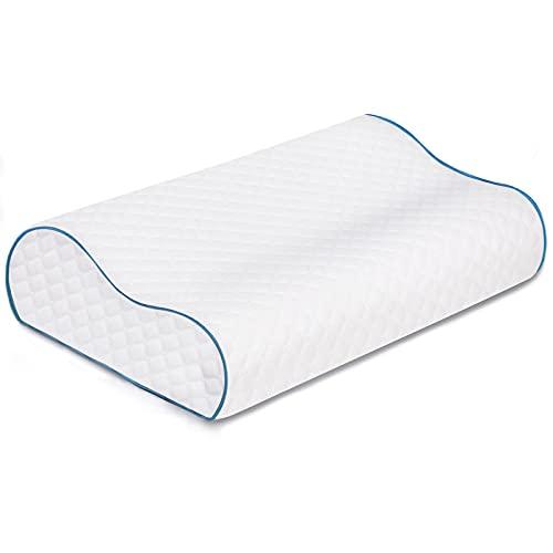Almohada de Espuma viscoelástica para el Cuello, Oxford Street Comfort Orthopaedic Cervica Almohada ergonómica antirronquidos, Funda de Almohada Lavable para aliviar el Dolor (Azul, 60x35x9/11 CM)