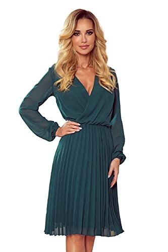 Numoco Plisseekleid Isabelle Abend-oder Cocktailkleid mit Ausschnitt und langem Ärmel (Grün, S)