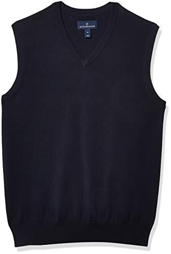 Amazon Brand - Buttoned Down Men's 100% Supima Cotton Sweater Vest, Navy, Medium
