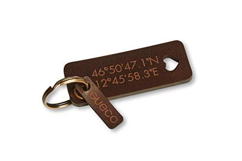 Leder Schlüsselanhänger mit individueller Gravur (Text Koordinaten Initialen)-Modell Öse 4mm-Einzigartiges Geschenk für Familie und Freunde