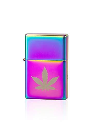 TESLA Lighter T03 - elektronisches USB Lichtbogen Feuerzeug Motiv Hanf, Regenbogen
