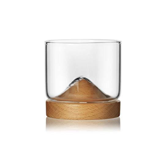 DZHTWSRYGR Vasos de Vidrio Base de Madera Transparente Copa de Whisky de montaña Taza de Cerveza Creativa