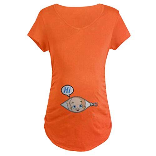 T-Shirt De Maternité Femme Tee Shirt Grande Taille Tops De Maternité BéBé Allaitant Enceinte Grossesse Blouse Ample Sweats Manche Courte Sweatshirt Funny Tee Wolfleague