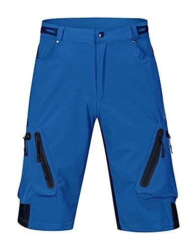 Bestgift Ciclismo pantalones para hombre de verano de secado rápido off-road ciclismo al aire libre ropa deportes bicicleta de montaña pantalones cortos ciclismo ropa hombre, azul celeste, 4X-Large