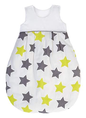 ZEWI bébé-jou Baby Sommerschlafsack, 100% Baumwolle Gaze, Größe: 50/56 (0-2 Monate Neugeborene), Lime Stars