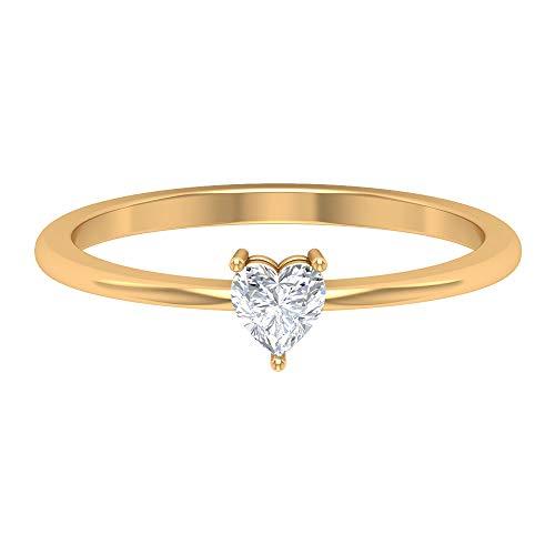 Anillo solitario de diamante de 4 mm, anillo de diamante en forma de corazón de 1/4 quilates para mujer, anillo de promesa, 14K Oro amarillo, Size:EU 57