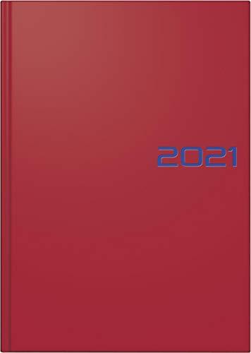 Brunnen 1079561011 Buchkalender Modell 795, 1 Seite = 1 Tag, 14,5 x 20,6 cm, Balacron-Einband rot, Kalendarium 2021