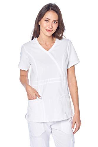 Angel Uniforms- Adrianna 4-Pocket, Slim-Fit Stretch Scrub Top Medical Anti-Wrinkle White