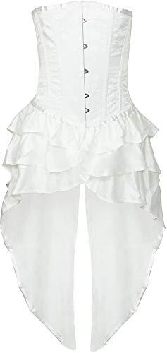 Damen Corsage in Weiß - Mieder mit Schößchen-Rock - Größe XL