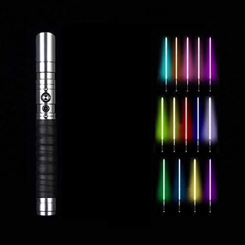 BoMan Lightsaber of Metal Hilt 11 Color RGB Laser Cosplay Toy Luz Luminosa Al Aire Libre Creative Wars Force Fx Lightsaber Light y Blaster Sound, Regalo para niños y Adultos,Blanco