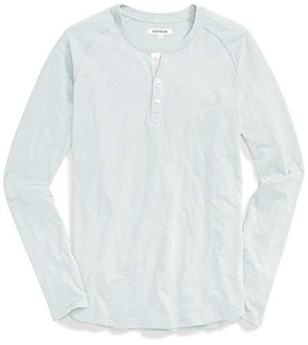 Marca Amazon - Goodthreads – Camiseta estilo Henley de algodón flameado de manga larga, ligera para hombre, Azul (Aqua), M
