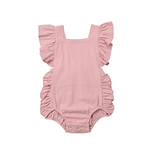 VJGOAL hoge kwaliteit kleine kinderen zomer pasgeborenen baby jongens meisjes ruffle Solid stramler bodysuit overall kleding