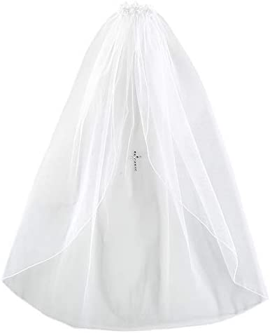 Christian Brands Catholic Satin Bow Headband w/Pearl Cross First Communion Veil