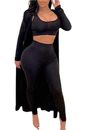 GenericC Womens Sexy 3 Piece Outfits Solid Tank Crop Top Long Kimono Cardigan and Bodycon Pants Set Black S