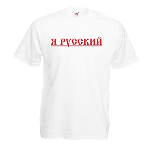 Männer T-Shirt ЯРусский - Ich Bin russisch, Россия, Vladimir Putin (X-Large Weiß Mehrfarben)