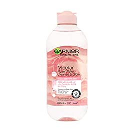 Garnier Micellar Rose Cleansing Water, Glow Boosting Face and Eye Make-Up Remover & Cleanser for Dull and Sensitive Skin 400 ml