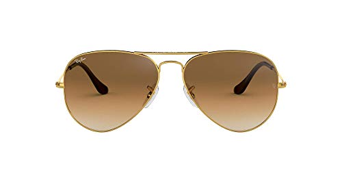 Ray-Ban Aviator Large Metal - Gafas de sol Unisex, Dorado (Crystal Brown Gradient Glass), 55 milímetros