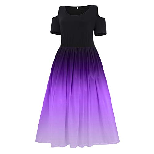 MOHOLL Plus Size Dress for Women Casual Cold Shoulder Gradients Maxi Long Dresses for Cocktail Evening Party Purple