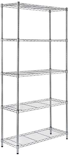 AmazonBasics 5-Shelf Shelving Storage Unit, Metal Organizer Wire Rack, Chrome Silver