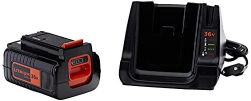 BLACK+DECKER - BDC2A36-QW- Kit Batterie Lithium 36V 2Ah et Chargeur 1h30, Compatible avec Tous Les Outils Sans Effet Mémoire, Faible Autodécharge, Pratique, Compacte et Polyvalente,