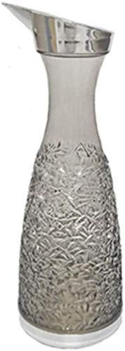 Tetera de cristal jarra de cristal de grado premium con boquilla de vertedor resistente al goteo y tapa filtrable de acero inoxidable
