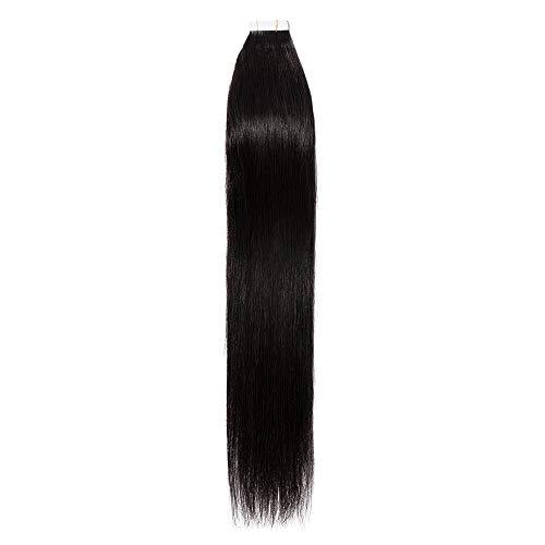 Extension Adhesive Cheveux Naturel 20 Pcs 40g - Rajout 100% Vrai Cheveux Humain Lisse à Bande Adhesive (#1B Noir naturel, 35 cm)