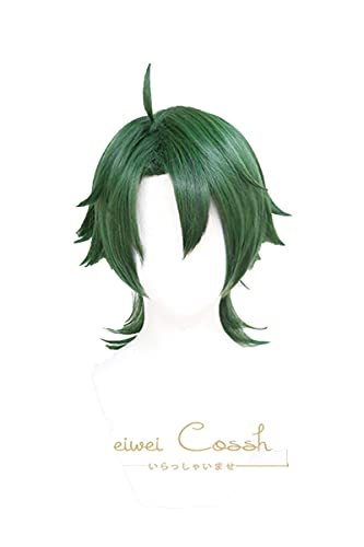 Anime SK8 the Infinity Joe Cosplay Wig Green Short Straight Mullet Little Ponytail Heat Resistant Hair Role Play SK8