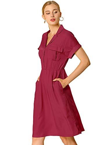 Allegra K Women's Notched Lapel V Neck Above Knee Elastic Waist Shirt Dress X-Large Burgundy