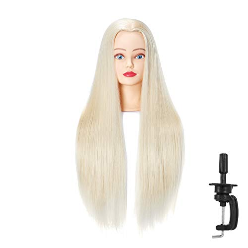 Hairingrid 26 -28  Mannequin Head Hair Styling Training Head Manikin Cosmetology Doll Head Synthetic Fiber Hair and Free Clamp Holder (Blonde)