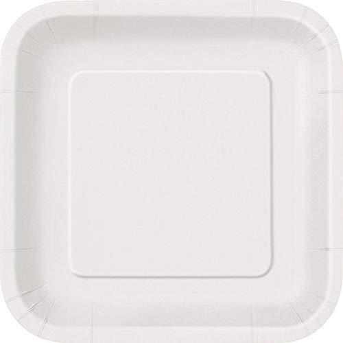 Unique Party - 31053 - Paquet de 16 Assiettes Carrées en Carton - 18 cm - Blanc