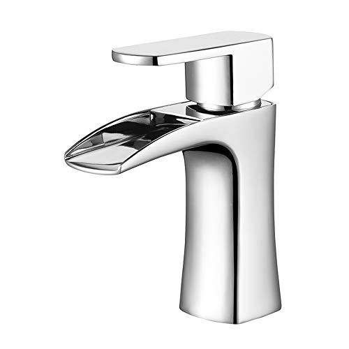 HNBMC Grifo Mezclador de Agua para baño, Grifo Monomando de Lavabo con un Solo Agujero para Lavabo Caliente y frío, Grifo Monomando para Lavabo de Cocina o baño
