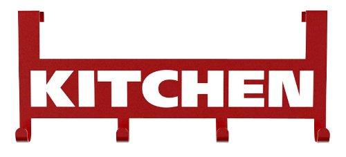 WENKO 4368090100 Küchen- und Türhaken Kitchen - zum Einhängen an der Tür, Metall, 25.5 x 4.5 x 10.9 cm, Rot