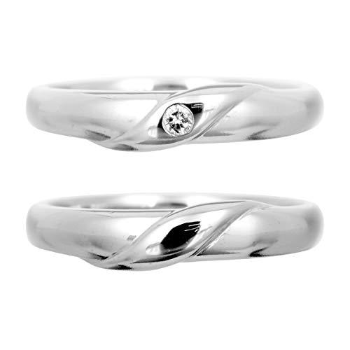 [ココカル]cococaru ペアリング ダイヤリング 2本セット K10 ホワイトゴールド ダイヤモンド マリッジリング 結婚指輪 日本製(レディースサイズ19号 メンズサイズ9号)