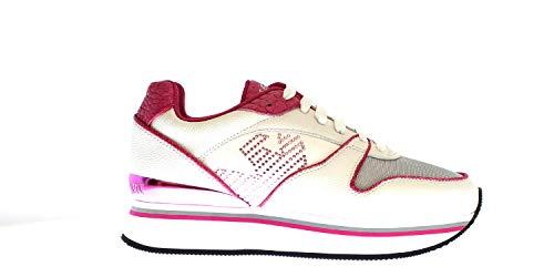 Emporio Armani X3X046 - Zapatillas con cordones de piel/nailon para mujer Blanco Size: 39 EU