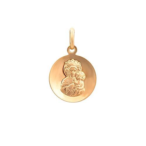 Anhänger Heilige Jungfrau Maria mit Jesuskind Gold Gelbgold 585 14K Goldanhänger Kettenanhänger Gottesmutter Medaille Medaillon für Damen Mädchen Jungen Kinder