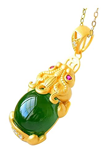 LIXSLT Collar de la fortuna, colgante de jade de la fortuna y la prosperidad Pixiu para regalo de Navidad de Año Nuevo (color: verde)