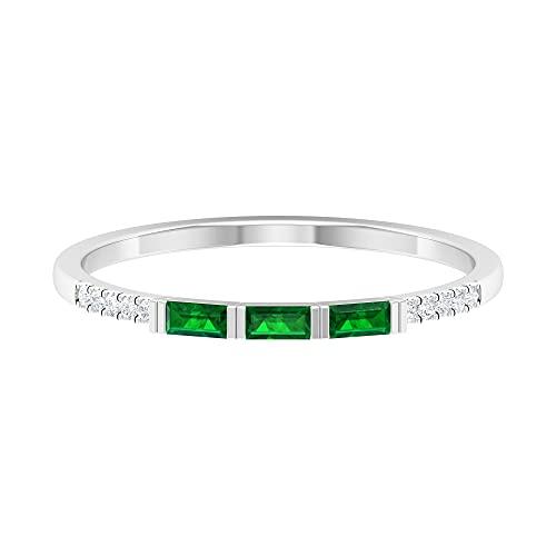 Baguette Anillo de piedras preciosas, anillo de ajuste de barra, anillos de diamante para mujer, oro blanco, Metal precioso. Piedra preciosa. Piedra, Ruby,