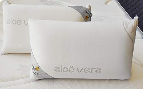 Seasons Dos Almohadas de Viaje viscoelastica Aloe Vera, Hilo de Plata, Blanco, Pack de 2-43x22x10 cm, 432210