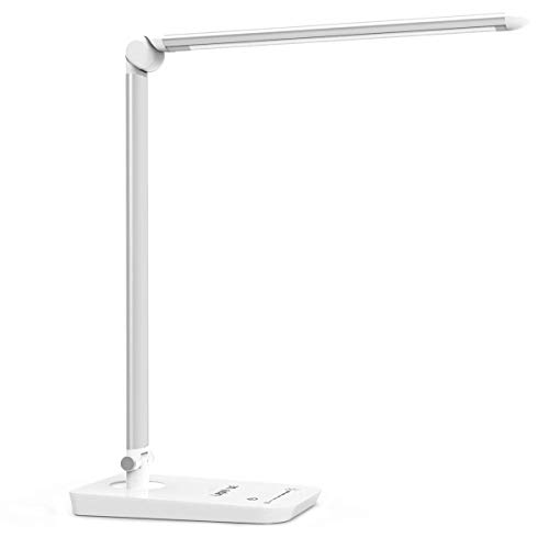 LE Dimmable LED Desk Lamp, 7-Level Brightness Adjustable, Soft Touch Dimmer, Eye Care Daylight Natural Light, High Intensity Office Task Lamp for Reading, Study, Computer Work and More (Silver White)